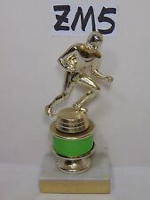 """VINTAGE 1970'S TROPHY MAN CAVE MID CENTURY SPORTS FOOTBALL MARBLE BASE 7"""" RUNING"""