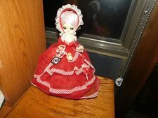 Artmark Big Eyed Doll Vintage Victorian Style Red Dress Parasol Hoop Skirt Tag