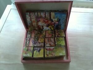 Vintage 1960s Wooden Cube Snow White Block Puzzles 6 with Box