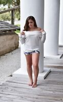 Women's Ivory Off Shoulder Thermal Top, Size Medium, From La' Shay Boutique
