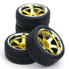 4X Rubber Tires Wheel Rim For HPI RC 1:10 Flat Racing On Road Car PP0150+PP0040