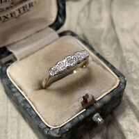 Art Deco 9ct Gold Platinum Diamond ring 5 stone UK M 1/2