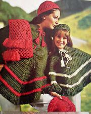 "#107 Ladies Girls Vintage Crochet Pattern Poncho, Hat, Beret & Scarf 26-38"""
