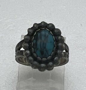 Navajo Signed Sterling Silver Turquoise Ring Stamped Picto Hallmark Sz 4.5 4g