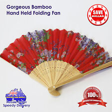 Folding Fan Bamboo Hand Held Weather Hot Cool Humid Wind Wooden Colour Pattern