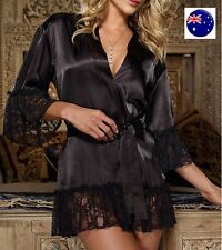 Women Satin Sexy Kimono Black Lace Bath Robe Sleepwear Nighties Dress Gown