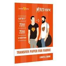 Inkjet Printable Heat Transfer Paper Iron On Dark Light T Shirt 20 Sheets 85x11