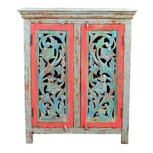 Made to Order Jali Hand Carved Solid wood Sideboard Multicolored M