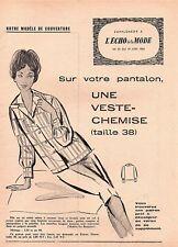 ▬► Patron Couture Écho de la Mode - 1960 N°25 - Taille 38 - Veste-chemise