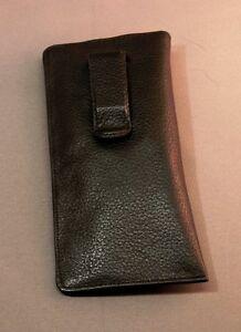 Eyeglass / Glasses Case with CLIP - Premium top grain leather- BLACK