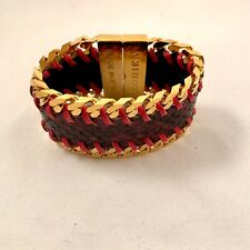 Ikonika Italy wild collection leather bracelet- Pink Snakeskin W/ Gold