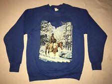 vtg 80's 90's USA  indian Chief horse winter SWEATSHIRT M-l
