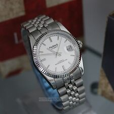Parnis Datejust Miyota 21J AUTOMATICO ACCIAIO LUCIDO Lusso Watch 35mm