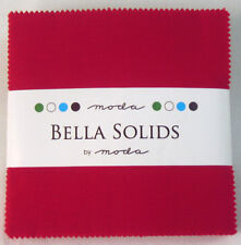 Moda Fabric Bella Solids Charm Pack Red - Patchwork Quilting 5 Inch Squares