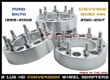 "8 LUG FORD 99-02 8X170 TO 8X180 11-17 3"" THICK CONVERSION WHEEL SPACERS ADAPTERS"