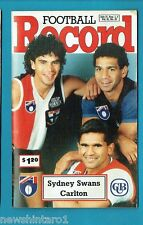 #NN. AUSTRALIAN RULES FOOTBALL RECORD, SYDNEY SWANS V CARLTON 31/7-2/8/1992
