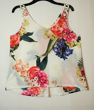 WHITE RED LADIES CASUAL PARTY TOP BLOUSE FLORAL SIZE M H&M