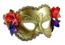 Maschera Carnevale Donna ORO FIORI e STRASS stile Veneziana Travestimento adulto