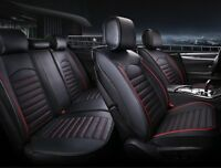 Black PU Leather Full Set Seat Covers Padded For Fiat Seat Volvo