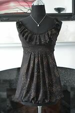 Stunning New Look  Black Sparkly Party Bubble Hem Sleeveless Top/Tunic. Size 8