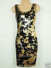 BNWT Definitions Gold and Black Sequin Shift Dress Size 12 RRP £69