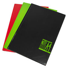 3 Black Green Red A4 Paper Notebooks Hardback 160 Page Lined Writing Books Pads