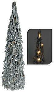 60cm Silver Rustic Twig Christmas Tree 15 LED Lights Light Up Tree Decoration
