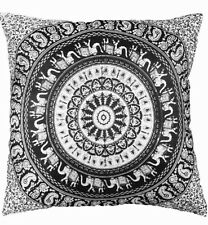 Large Indian cushion covers black and White elephant mandala square cover 24x24""