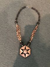 LARGE VINTAGE BLACK NECKLACE with ABALONE INLAY & BEADS STAR Pattern