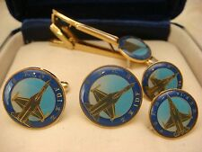 JAPANESE AIRFORCE IDF F-16 M-2000 MENS JEWELRY SET CUFFLINKS 2 PINS TIE CLIP
