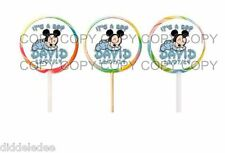 30 It's Boy Baby Mickey Mouse Baby Shower Lollipop Labels Stickers Personalize