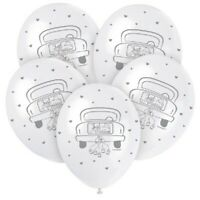 "5 x Just Married 12"" Latex Balloons Helium Wedding Party Decoration Supplies Car"