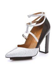 NIB Philip Lim 3.1 Strap Ankle Chunky Heels Black White Sz 6 36.5
