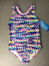 Speedo Kids Girls One Piece Swim Suit Pink Tie Dye 90s Print Large 12/14 NEW