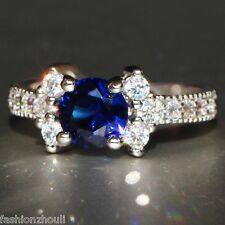 Hot 925 Silver Filled Blue Sapphire Gemstone Size8 Birthstone Wedding Ring 598