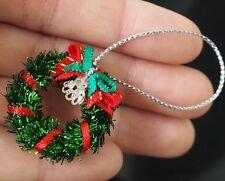 Dollhouse Miniatures Green Wreath Tinsel Garland Christmas Decorations 1:12