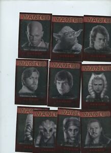 2015 Star Wars Chrome Perspectives Jedi vs Sith Wanted Jedi Hunt 10 Card Set