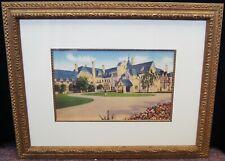 "Unsigned ""Summer Estate"" Vintage Lithograph Print Framed 21x27"" B4421"