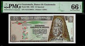 Guatemala 1/2 Quetzal 1994  PMG 66 EPQ UNC P#86b PMG Population 2/0