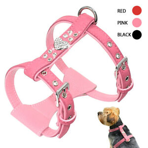 Suede Leather Dog Harness Rhinestone Vest Harness for Chihuahua French Bulldog