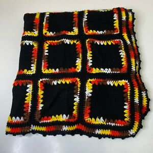 vintage afghan knit crochet with felt squares blank and yellow rectangle