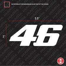 2x NUMBER 46 VELENTINO ROSSI  sticker vinyl decal white