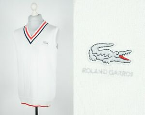 Men's Lacoste Roland Garros Tennis Vintage Vest Gilet Jumper Sweater Size XL