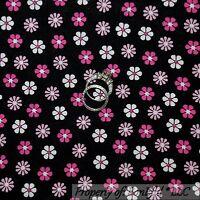 BonEful FABRIC FQ Cotton Quilt VTG Black White Pink B&W FLOWER Calico Minnie Dot