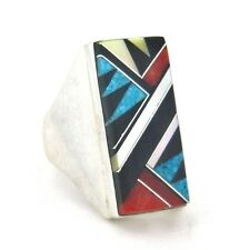Native American Made Sterling Silver Men's Multi Stone Ring  Size 11 --- R26 H T