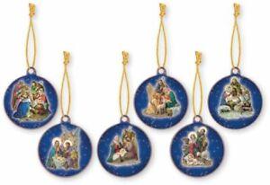Xmas Nativity Mini Plaque Tree Decorations set of 6 Different Nativity Scenes