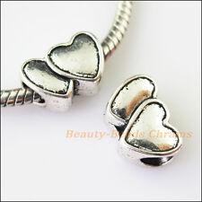 4Pcs Antiqued Silver Heart Spacer Beads fit European Charm Bracelets 9.5x14mm