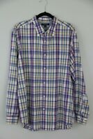 Banana Republic Mens Size XL Shirt Purple Blue Yellow Plaid Soft Wash Cotton