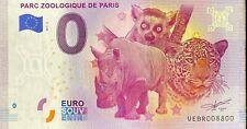 BILLET 0  EURO PARC ZOOLOGIQUE PARIS REVERS BELEM  FRANCE 2017 NUMERO 8800
