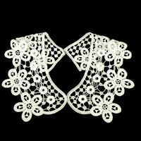 Vintage Period Guipure Lace collar, Ivory Lace Sewn On Dressmaking, 1 pair. L22